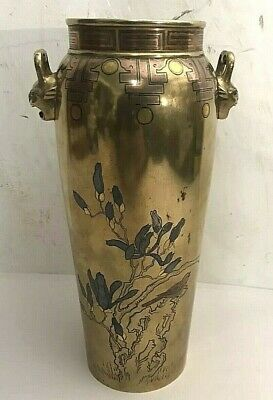 Excellent Japanese Mixed Metal Inlaid Bronze Vase