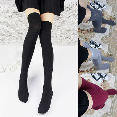 Women Girls Knit Over The Knee Thigh High Socks Fashion Boot Long Warm Stocking