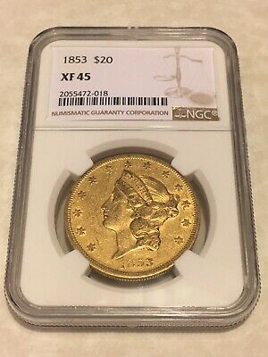 1853 XF45 NGC Liberty Double Eagle $20 Gold Coin (not PCGS)