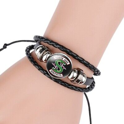 UK Fashion Riverdale South Side Serpents Glass Domed Braided Leather Bracelet