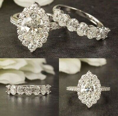 1.80Ct Oval Cut Diamond Halo Antique Engagement Ring & Set Solid 14k White Gold