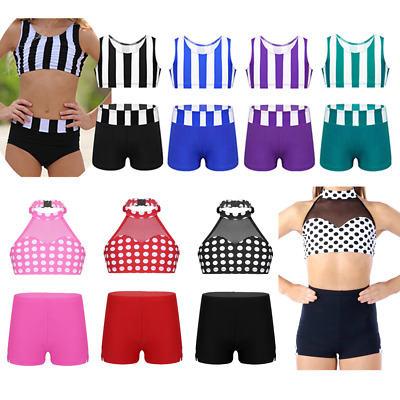 Kid Girl Striped Crop Top+Shorts Costume Gymanstics Dance Polka Dots Outfit Set
