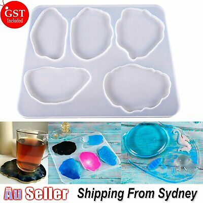 Agate Coaster Cup Mat Resin Casting Mold Silicone Making Epoxy Mould Clay Tool A