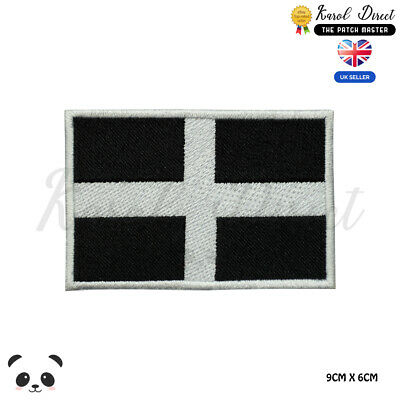 FREE UK P/&P Cornwall Kernow Flag Embroidered Sew on patch
