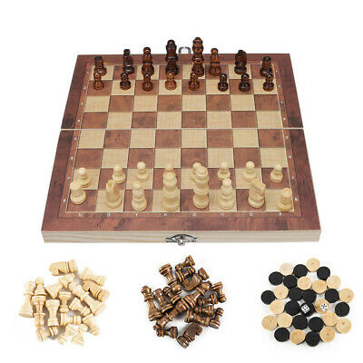 3 in1 Folding Wooden Chess Set Boards Game Checkers Backgammon Draughts Toy Gift