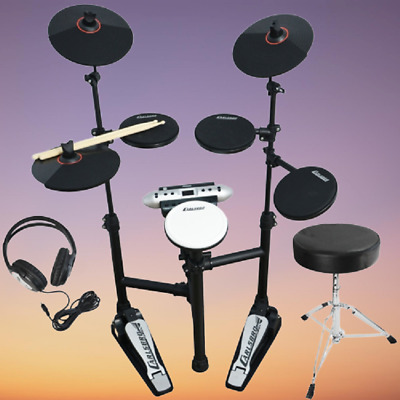 Electronic Drum Kit Compact Set Foldable Practice w Headphones Stool Drumsticks