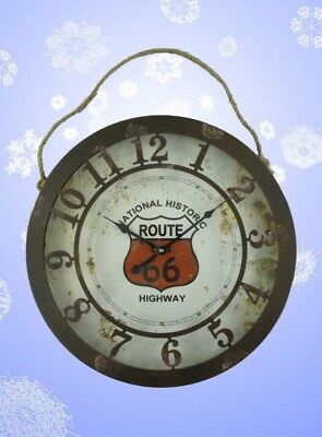 Wall Clock Iron Battery Timepiece Route66 D.50cm Vintage Gift Decoration