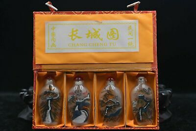 """4pc Chinese folk Inside painting """"Great Wall illustration"""" glass snuff bottle"""