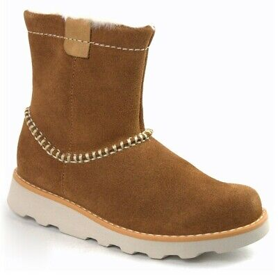 Clarks Girls Crown Piper Tan Suede Warm Air Spring Boots Size 1.5 G