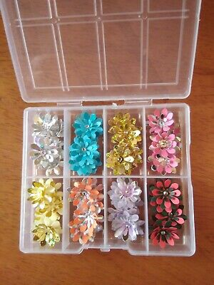 Box Full Of Handmade Paper Flowers in Christmas Colours