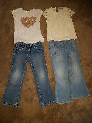 EXCELLENT CONDITION 2 Girls Jeans Top Outfit Age: 4 / 4-5 Years