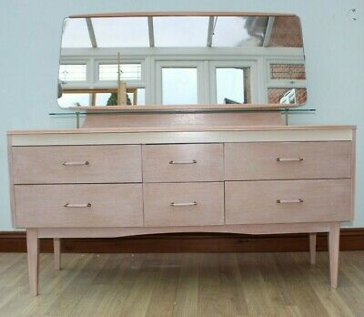 Dressing Table Drawers Antique Vintage Scandi White Limed Retro 70'S 60'S 50'S