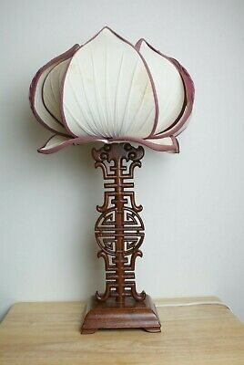 Chinese wood carved table lamp