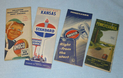 Lot of Vintage Gas & Oil Road Maps, Old Amaco & Standard Advertising 30's / 40's