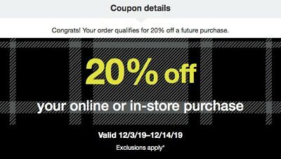 Target 20% coupon online or in-store purchase Valid 12/3/19–12/14/19