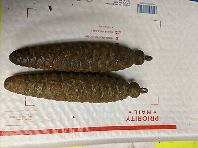 Two 8 day  Pine Cone Weights Cuckoo Clock  Antique parts ...set1