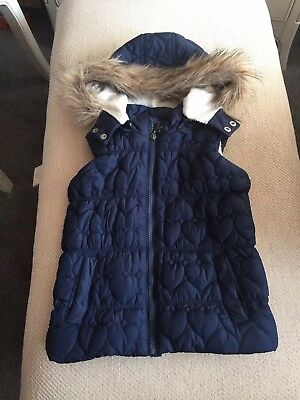 Sweet Millie Quilted Blue Gilet With Faux Fur Trimmed Hood Age7 In Excellent Con