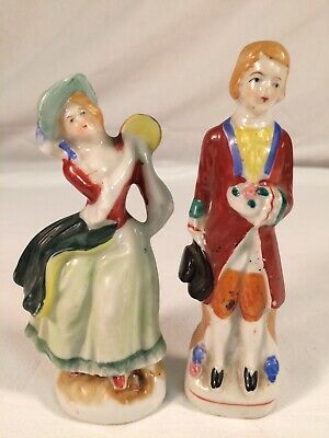 """Made In Occupied Japan 5"""" Victorian Figurines ~ Lot Of 2 #I"""