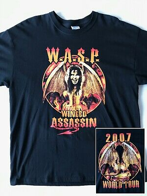 Vintage W.A.S.P. Tour Rock Band T-Shirt WASP Winged Assasin Size XL Metal Tee