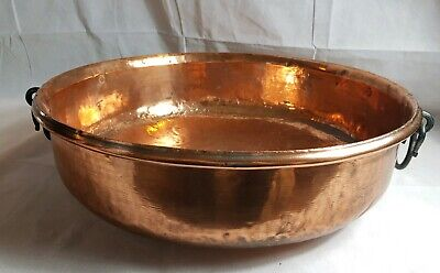 Antique Hand Hammered Extra Large Copper Party Wine Cooling Bowl Diameter 54 cm