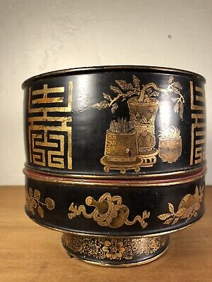 Antique Chinese Lacquer Ware Hand Painted Gilt Wood Offering Bowl 1880s