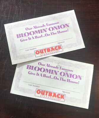 (2) Outback Steakhouse Late 90S to Early 2000'S Bloomin' Onion Card