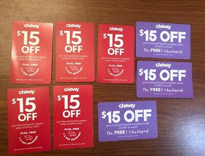 Lot Of Chewy Coupons $15 Off Your First Pet Food & Supplies Order