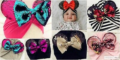 *New* Boutique baby toddler bow hat Girls Minnie Ears Sequin Bows Free Shipping