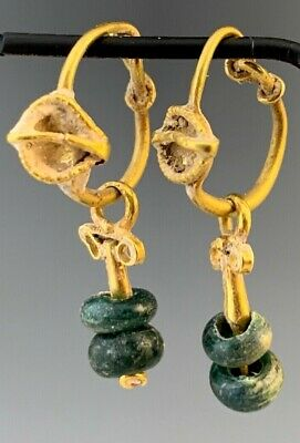 ANCIENT ROMAN GOLD DECORATED EARRINGS w/GREEN GLASS BEAD DANGLES; CHOICE!
