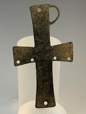 Ancient Byzantine Bronze Chi Rho Cross; 300 - 800 A.d; The Cross Of Christ!