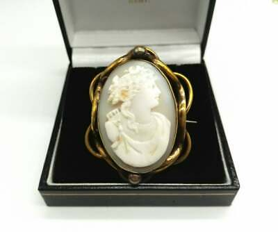 Antique Victorian Finely Carved Classical Large Shell Cameo Brooch Rolled Gold