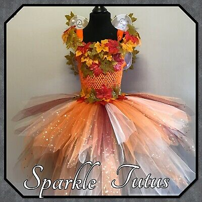 Girls Woodland Fairy Inspired Autumn Tutu Fancy Dress Costume Birthday Outfit