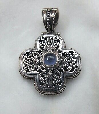 Gerochristo Sterling Silver Byzantine Medieval Cross Pendant with Iolite Stone