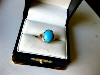 ANTIQUE VICTORIAN 10K ROSE GOLD RING with FINE PERSIAN TURQUOISE,19 c.