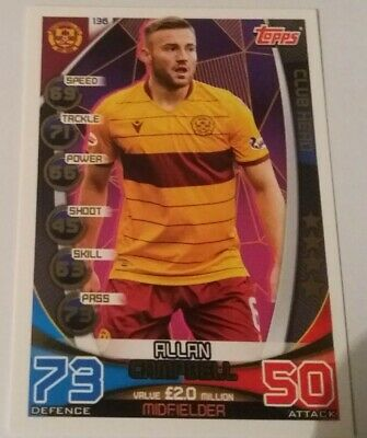 TOPPS Match Attax Trading Card - SPFL 2019/20 A. Campbell Motherwell Card No.136