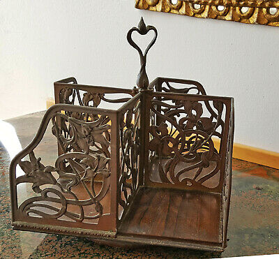 Art Nouveau Bookcase with Floral Pattern  of Lillies Rotating on a Circular Base