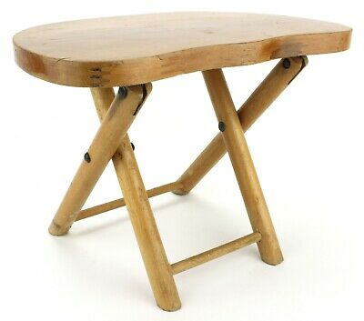 Vintage 1950s NEVCO Childs Wood Folding Stool Milking Camping Portable (575)