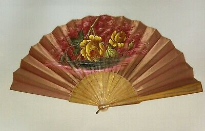 Antique Victorian hand painted hand fan