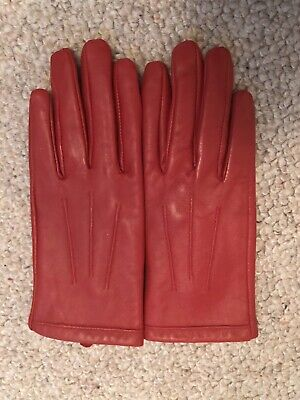 Next Red Leather Ladies Gloves Small