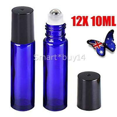 12 10ml Roller Bottles Blue THICK Glass Steel Roll on Ball for Essential Oils OZ