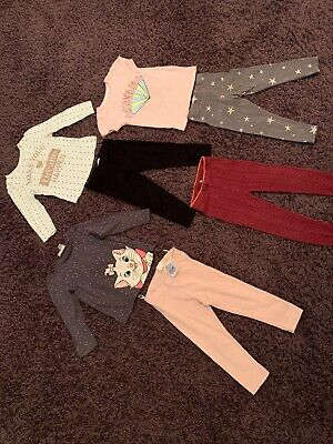 Girls Cloths Bundle , Tops And Leggings Ages Vary 1 To 3 Years