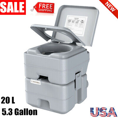 5.3 Gallon 20L Portable Toilet 50 Flushes Outdoor Hygience Toilet Commode Potty