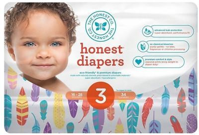 Honest Co Diapers Painted Feathers Size 3 16-28 lb, One Pack 34 Count Unisex NEW