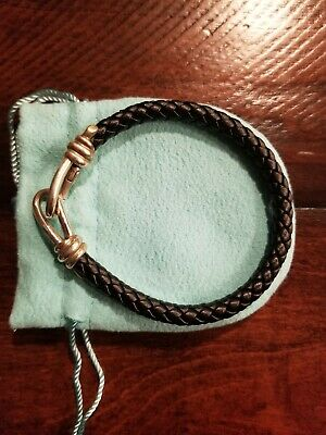 Tiffany & Co. Paloma Picasso Sterling Knot Single Braid Leather Bracelet Black