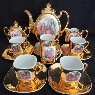 Gold Renaissance Tea Set - Gold Hand Painted C1950's