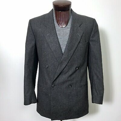 VTG HUGO BOSS Made In WEST GERMANY Double Breasted Suit Coat Blazer Wool 40R
