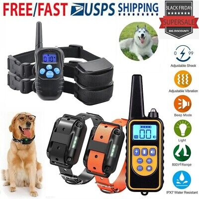 Pet Dog Training Collar Electric Shock LCD Rechargeable Waterproof+Remote Train