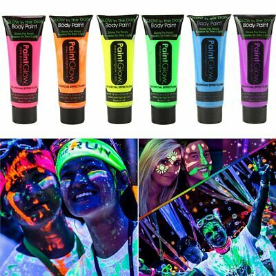 Pack of 6 Face Colour Paint UV Blacklight Reactive Glow Face 25 ml Free Shipping