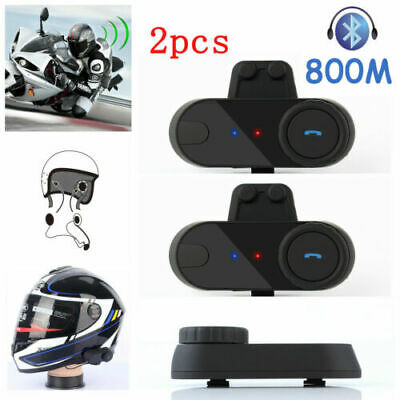 2x Motorrad Gegensprechanlage Sprechanlage 800M Bluetooth HelmIntercom Headset