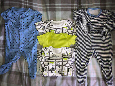 Baby Boys Bundle Of Sleepsuits And Vests Newborn To 1 Months